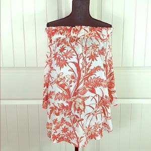 H&M Off Shoulder White Coral Tropical Flowing Top